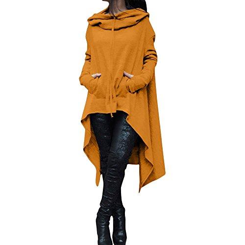 YWLINK Frauen Elegant Asymmetrische Bluse Loser Hoodie Lange Kapuze Oberteile Damen Sweatshirt Pulli Pullover Rollkragen(XL,Gelb)