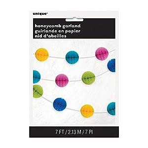 Unique Party Guirnalda con bolas en forma de panal Color multicolor brillante 210 cm 49612