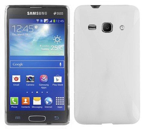 Preisvergleich Produktbild Cadorabo Hülle kompatibel mit Samsung Galaxy ACE 3 Hülle in MAGNESIUM WEIß Handyhülle aus flexiblem TPU Silikon im X-Line Silikon Schutzhülle