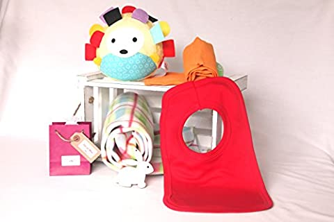 'Woodland Friends' - New baby gift hamper, FREE UK DELIVERY - Gift Box - Soft blanket - 'Vintage inspired' soft toy - 100% cotton muslin - 100% cotton bright red bib - Bath melt for mum. New baby gift box/baby hamper, baby gift basket, nappy cake, baby shower gift, unisex baby gift, baby boy gift, baby girl gift, baby basket, luxury baby hamper, newborn baby hamper, maternity
