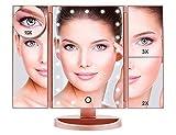 Boston Tech BE-104 Espejo de Maquillaje con 36 Luz LED Regulables Plegable. Regalos Originales. Rotación 180º Sobremesa Carga USB o Pilas, Color Oro Rosa Metálico 4 Aumentos 1X, 2X, 3X y 10X