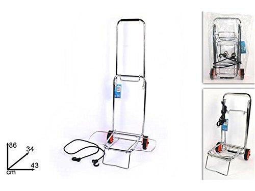 Vetrineinrete® Carrello porta valigia pieghevole e richiudibile in acciaio porta pacchi manuale per trasporti portavaligie con elastico di sicurezza 86 x 43 x 34 cm P14