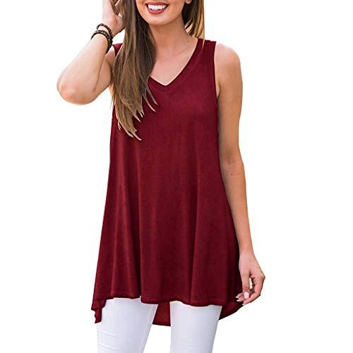 Weste Tops für Damen,Kobay 2019 Oktoberfest Weltfriedenstag Tag des offenen Denkmals Tag der Frauen Sommer Sleeveless Solide V Ausschnitt T Shirt Tunika Tops Bluse Shirts Tank Tops -