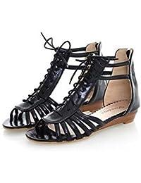 Beauqueen Sandalias Peep-dedo del pie de las mujeres de verano de las bombas de pintura plana Zipper mujeres Zapatos ocasionales Tamaño especial Europa 34-43 , beige , 34