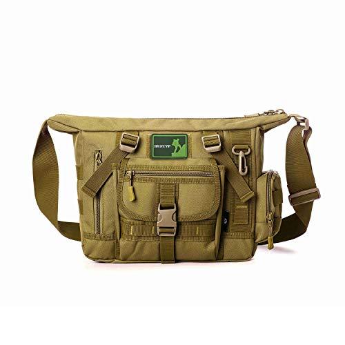 Huntvp Tactical Messenger Bag Schultertasche Umhängetasche Umhängetasche Gürtel Sling Bag Laptop für Arbeiten Radfahren Jagd Camping Trekking, braun