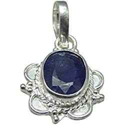 SILVER PENDANT Neelam 5.25 Ratti NATURAL & GJSPC CERTIFIED Sapphire(Neelam) ASTROLOGICAL GEMSTONE SILVER PENDANT BY ARIHANT GEMS & JEWELS