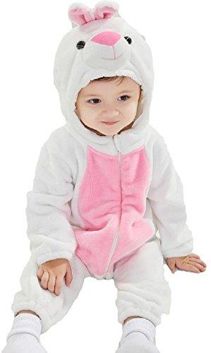 Baby Jungen Mädchen Weißes Osterhase Kostüm Overall Verkleidung - Weiß
