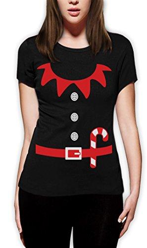 Elfen Suit Outfit ELF WEIHNACHTEN Frauen Schwarz Medium T-Shirt