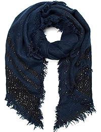 styleBREAKER Châle douillet en tissu pour femme avec des rayures, des  paillettes et des franges tout du long, écharpe… 2266c6aa693