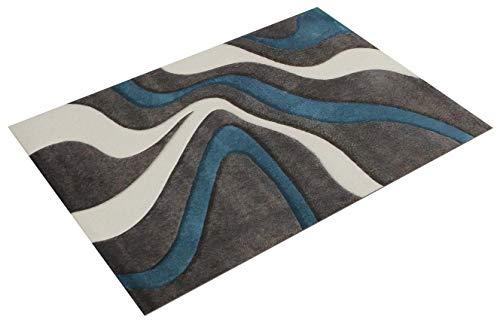 Paco Home Alfombra De Diseño Perfilado - Estampado De Ondas - Gris Turquesa Blanco, tamaño:120x170 cm