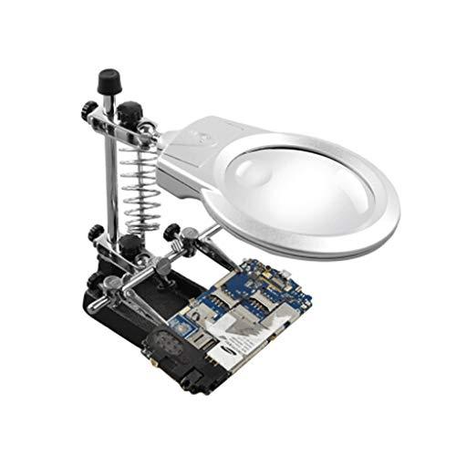 Beleuchtete Tischlupe, Acrylglas-Linse ABS-Rahmen 2 LED-Lampe verstärkter Sockel, zum Lesen von Zeitungsstempeln Outdoor-Artuhren geeignet Schmuck-Druckerkennung - Silber Schwarz -