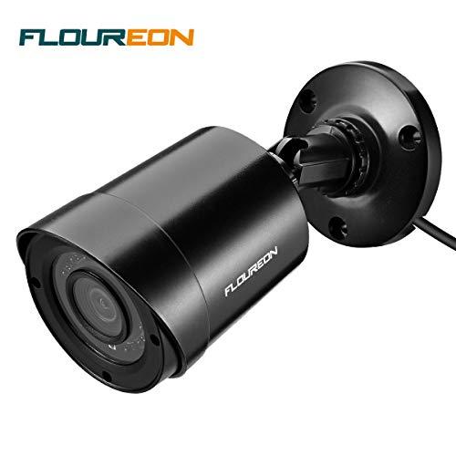 FLOUREON 1080P Telecamera Bullet 3000TVL HD IP66 Telecamera di Sicurezza 2MP CCTV Telecamera di sorveglianza Video per VideosorveglianzaVisione notturna IR invisibile a 940nm Nero