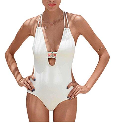 t V-Ausschnitt One-Piece Monokini brasilianischen Riemchen-Sommer-Strand-Badeanzug-Weiß (Brasilianische Kostüm Party)