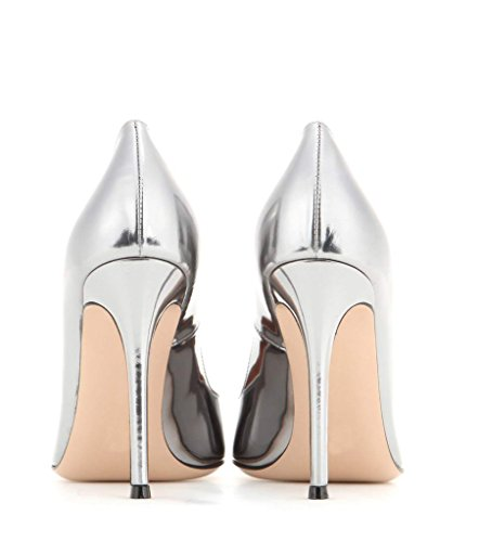 Elegante Faschion Escritório Bombas Alto De Salto Partido Prata Prom Padrão Edefs Lingerie Sapatos Milímetros Apontou 100 5RxE5UAS
