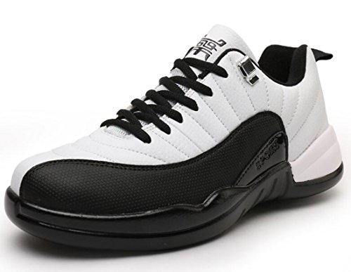Men's Comfortable Outdoor Athletic Basketball Shoes White Black