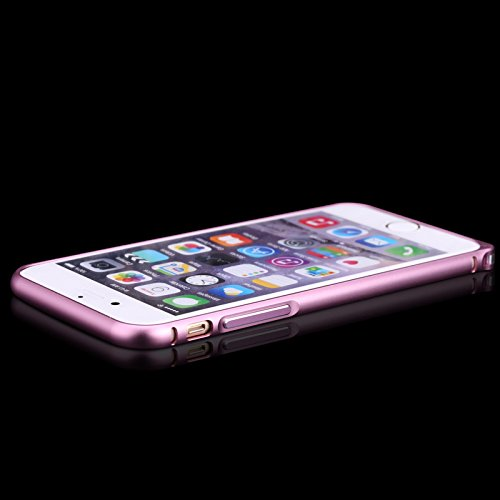 Coque iPhone 6/iPhone 6s 4.7 inch, Forhouse Glitter Métal Bumper Frame Doux Inner Lining Entièrement Protégée[Hippocampus Buckle]Poids Léger Arc Round Corners[Anti-Drop/Anti-éraflures]Brillant Glossy  Rose