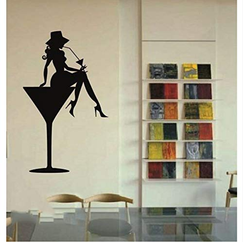 Lsfhb Vinyl Aufkleber Sexy Hot Girl In Martini Glas Party Cocktail Drink Wandaufkleber 37X62Cm