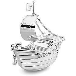 Brillibrum Design Spardose Schiff Kindersparbüchse Piratenboot Piratenschiff versilbert anlaufgeschütz Geschenkidee Metall Spardose Silber