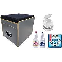 Baños taburete Porta Potti 145acolchado azul Juego con inodoro y accesorios