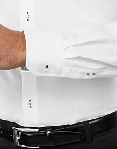 Vincenzo Boretti Herren Hemd Slim Fit Tailliert Bügelfrei Uni mit Kontrast Weiß/Blau