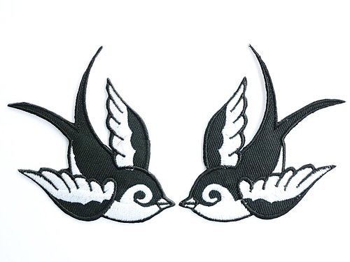 2 x Black White Swallows &Birds Aufnäher Aufbügler Patch Patches Applikation 9.91 cm 8,7 cm