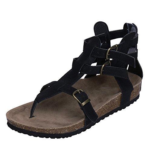 Qmber Damen Flach Flip Flops Sandalen Peeptoe Zehentrenner Sommerschuhe Elegante Schuhe Römische Schuhe aus Leder mit Schnallen Mode Schnallen Knöchel Strand Hausschuhe/Schwarz,37 -