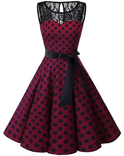 Bbonlinedress donna 1950 vintage senza maniche Rockabilly cocktail Swing Dress Burgundy Black Bdot XS
