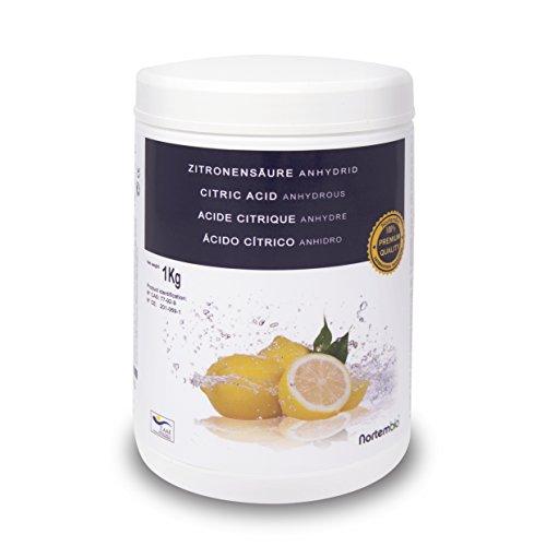 Zitronensäure 1 kg, reine Premiumqualität, Wasserfrei Pulver, NortemBio für ökologischen Produktion.