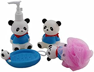MK Cartoon Design Bathroom Plastic Set Soap Dispenser Dish Loofah Toothbrush Holder for Kids Bath Toy Small Assorted Color & Design