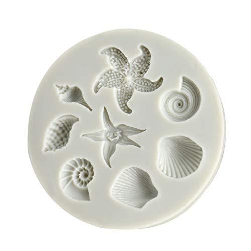 KiyomiQvQ Silikon-Kuchenform Mode DIY Backform/Muffinform,Shell Muschel Seestern Ozean Element Tier Formen Silikonform Eiscreme Pralinen Gebäck Art Pan Backformen Dekorieren von Werkzeugen