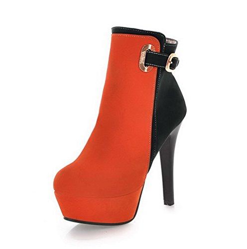 VogueZone009 Donna Tacco Alto Bassa Altezza Colore Assortito Cerniera Stivali con Metallo Arancio