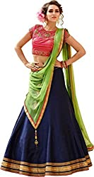 Nirvan Fashion Womens Blue Dupion Silk Lehenga-Choli - (roza navy blue | Free Size)