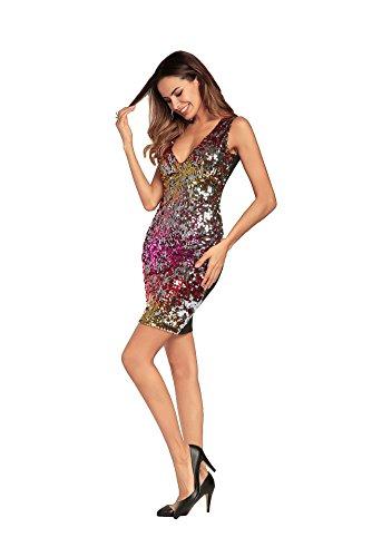 Deep Purple Dress (Women es Sequins Party Slim Bodycon Dress-Color Block Sequins High Waist Deep V Spring Cotton Blue Red Purple L XL XXL,2,XL)