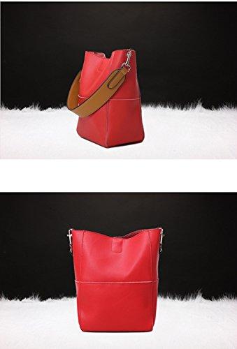 Keshi Leder Niedlich Damen Handtaschen, Hobo-Bags, Schultertaschen, Beutel, Beuteltaschen, Trend-Bags, Velours, Veloursleder, Wildleder, Tasche Rot