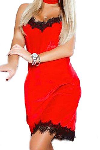 Frauen tiefer V-Ausschnitt Spitze Patchwork Shift Kleid Partykleid Red