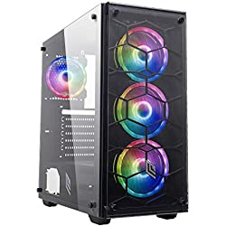 Noua Utopia F1 Black Case ATX per PC Gaming 0.70MM SPCC Front Glass 4 Ventole Triplo Halo RGB Rainbow 3*USB3.0/2.0 Pannello Laterale in Vetro Temperato (AxPxL: 455x440x210 mm)