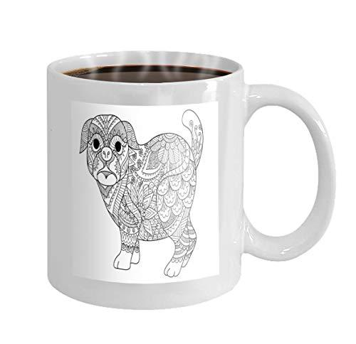 11 oz Coffee Mug line art design cute pug dog design element design adult coloring book page Novelty Ceramic Gifts Tea Cup