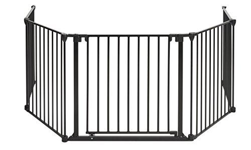 BOMI® Geprüftes Schutzgitter für den Kamin 93 - 510 cm | mit extrabreiter Tür (84cm) | faltbar | in Schwarz | aus Metall | für Kleinkinder, Babys & Tiere - Milo (8tlg.)