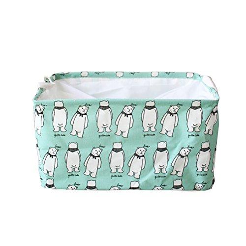 Inwagui Storage Basket Aufbewahrungsbox Wäschekorb Aufbewahrungskorb für Kleidung Handtücher Bettwäsche Spielzeug 45 x 25 x 30 cm-Bär (Socke Bar Stripe)