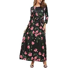 ZAFUL Mujer Vestido de Fiesta Impresión de la Flores Rosas Vestidos Mangas Largas Cuello con Cintura Elástico para Fiesta Playa