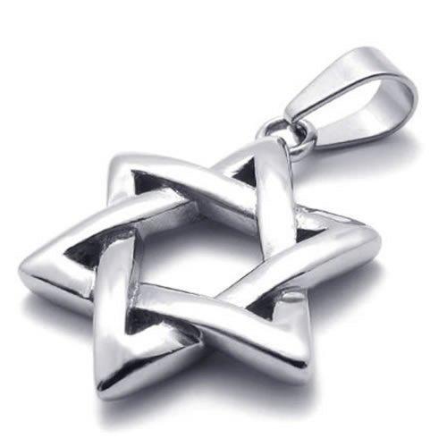 KONOV Schmuck Edelstahl David-Stern Anhänger mit 70cm Kette, Halskette für Herren Damen, (Stern Modeschmuck David)
