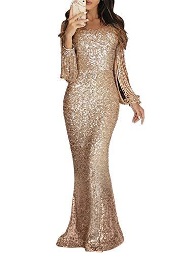 Dokotoo Damen Kleid Festliche Kleider Brautjungfer Hochzeit Cocktailkleid Quaste Elegant Langes Abendkleid Gold XL (EU48-EU50) -