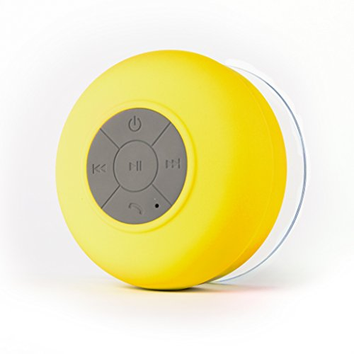 Affix Water Resistant Bluetooth Shower Speaker TG-WRSB01 - in-Built Control Buttons, Microphone, Powerful Suction Cup, w/Safety Lanyard - Best for Bath, Pool, Car, Beach, Indoor/Outdoor Use (Yellow)