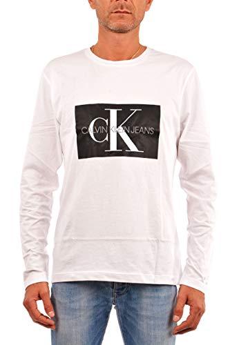 Calvin Klein Jeans Herren Langarm T-Shirt Monogram Logo Cotton Long Sleeve Tee J30J307853 m Weiss