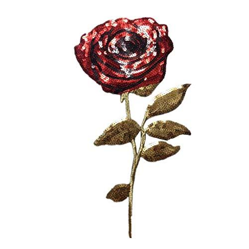 Hohe Mädchen Kostüm Qualität - Ogquaton Patch Applique Patch Pailletten Modische Rose Mädchen Kostüm Dekoration Zubehör Teile 33 * 13 cm Hohe Qualität