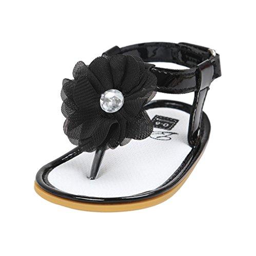 Chaussures de bébé Auxma bébés filles fleur Chaussures d'été Chaussures antidérapantes Pour 3-18 mois (12-18 M, rouge) Noir