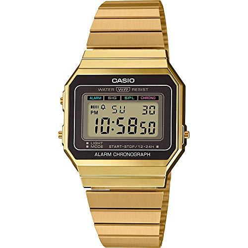 CASIO Reloj Mujer de Digital con Correa en Acero Inoxidable A700WEG-9A