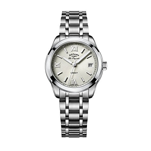 Rotary Women's Quartz Watch with Off-White Dial Analogue Display and Silver Stainless Steel Bracelet LB90173/06