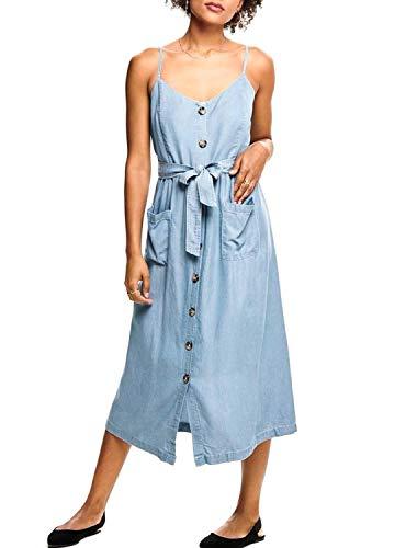 ONLY Damen Midikleid mit Knopfleiste Jeanskleid (36, Light Blue Denim)