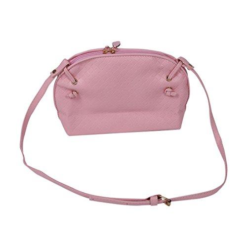 SODIAL(R) Nuove signore di spalla del sacchetto Faux Satchel corpo Croce Tote Donne borsa - rosa Pink